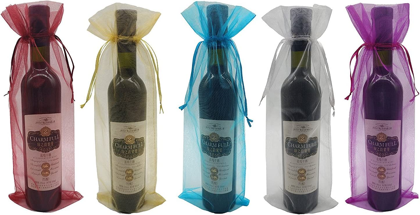 decoraci/ón 30 bolsas de vino organza fiestas botella de vino bolsa de regalo con cord/ón para bodas cumplea/ños blanco, 750 ml regalos festivales