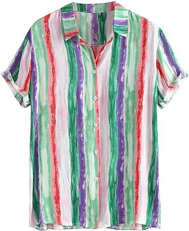 ACEBABY Camisa Hombre Camisa Hawaiana Manga Corta de Rayas, Hawaii Playa Ropa Hombre Verano Camisa del Tema en la Fiesta de Bodas Cumpleaños Camiseta España Camisa: Amazon.es: Ropa y accesorios