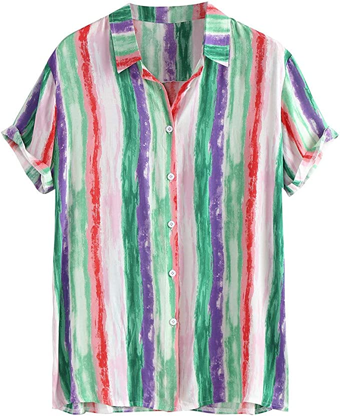 Mens Polo Shirts Fashion Summer Short Sleeve Stripe Button Down Colorblock Tropical Hawaiian Casual Tees Blouse Tops
