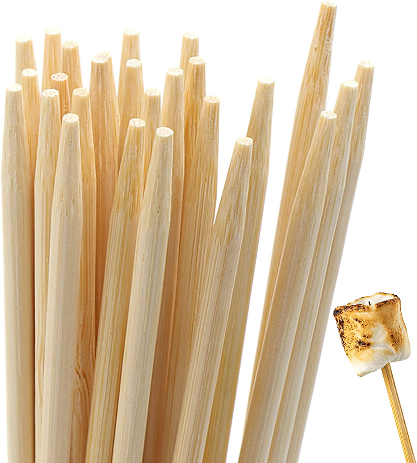 BLUE TOP Bamboo Marshmallow Roasting Sticks with 30 Inch 5mm Thick 60 PCS Extra Long Heavy Duty,Wooden Skewer BBQ Hot Dog Skewer,Great for Camping,Parties,Weddings and Plant Stakes.