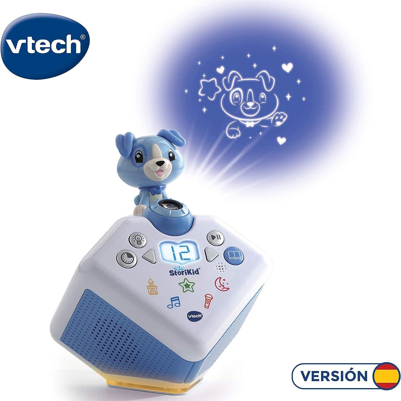 VTech - StoriKid, Cuentacuentos con proyector, escucha historias, poemas o canciones acompañadas de una proyección, graba tu propia historia, temporizador, luz de noche, color blanco/azul (80-608077)