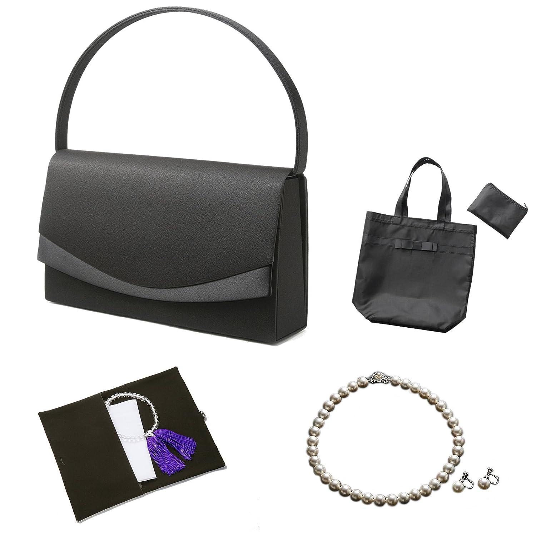 (マーガレット)フォーマル7点セット バッグネックレスピアスまたはイヤリングふくさハンカチ数珠折畳トート B01F1NI1M4 ネックレス42cm|イヤリング イヤリング ネックレス42cm