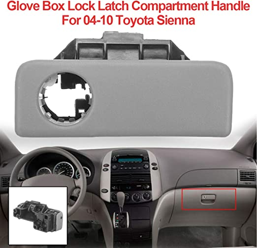 Replace for Toyota 55506-AE010-B0 Glove Compartment Box Lock Latch Handle Sub-Assembly Glove Box Lock Compartment Door Latch Assembly Fits for 2004-2010 Toyota Sienna Vehicles Stone Grey Color