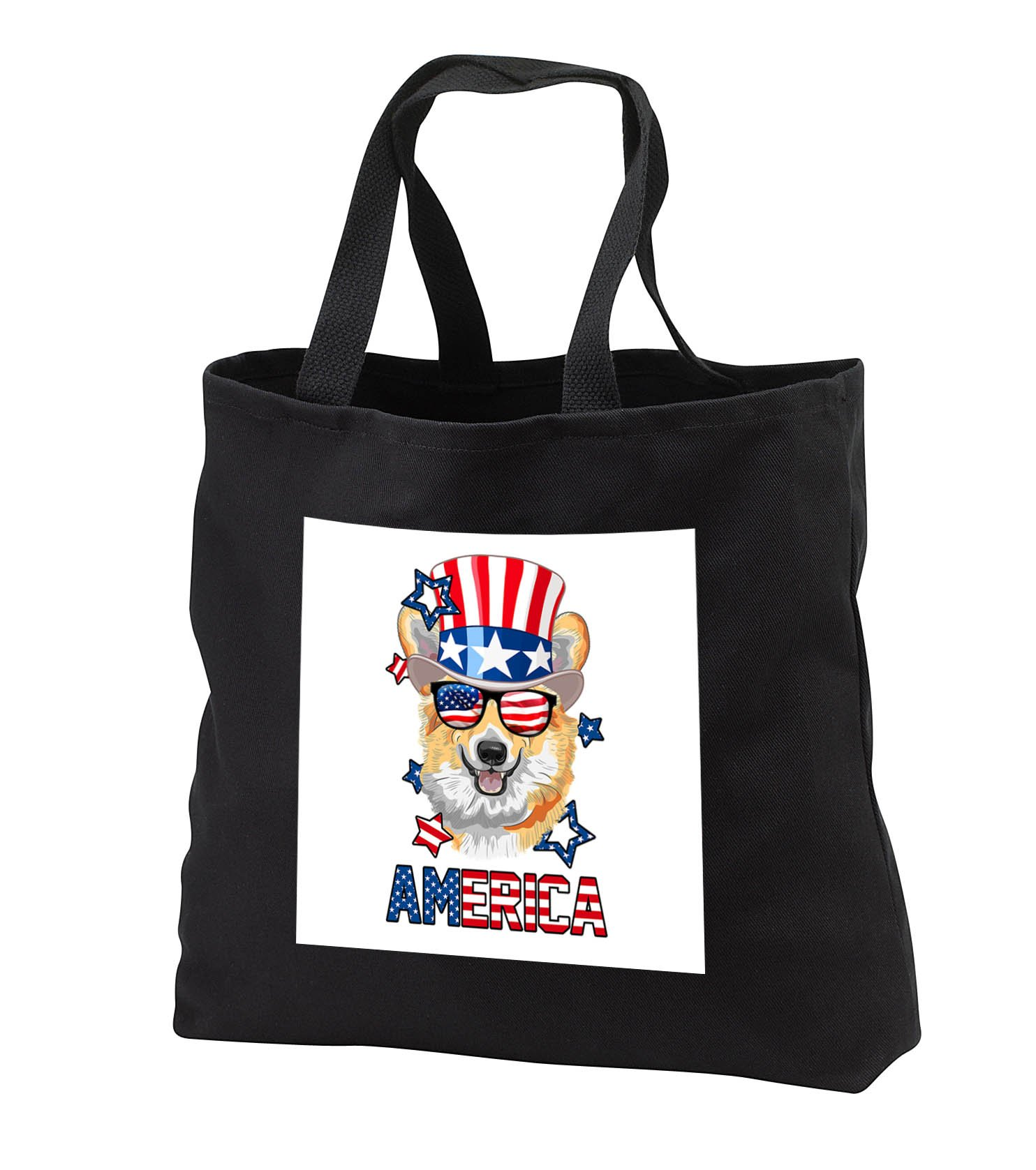 Patriotic American Dogs - Corgi With American Flag Sunglasses and Tophat Dog America - Tote Bags - Black Tote Bag 14w x 14h x 3d (tb_284222_1)