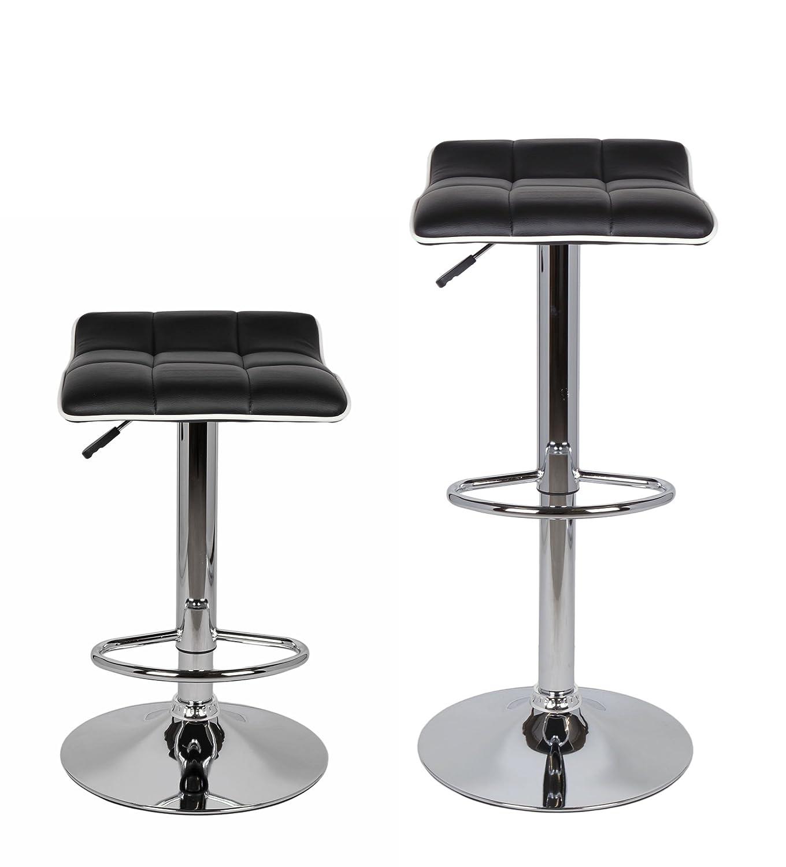 ts-ideen Sgabello-poltroncina da bar girevole sedia nera base cromata