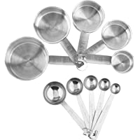 Stainless Steel Measuring Cups And Measuring Spoons 10-Piece Set, 5 Cups And 5 Spoons