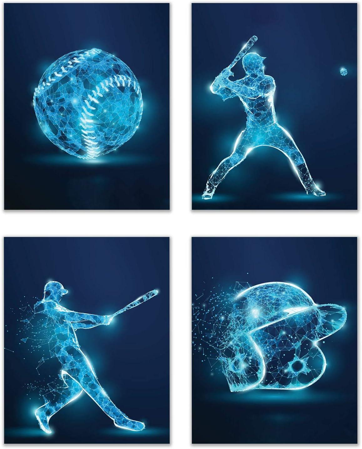 Baseball X-Ray Wall Art Decor Prints - Set of 4 (8x10) Inch Unframed Poster Photos - Bedroom