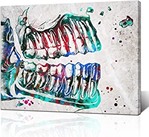 LoveHouse Medical Art Prints Colorful Tooth Canvas Painting Picture for Dental Clinic Office Teeth Anatomy Watercolor Print Contemporary Art Dentistry Kids Room Dentist Gift Ready to Hang 24x32inch