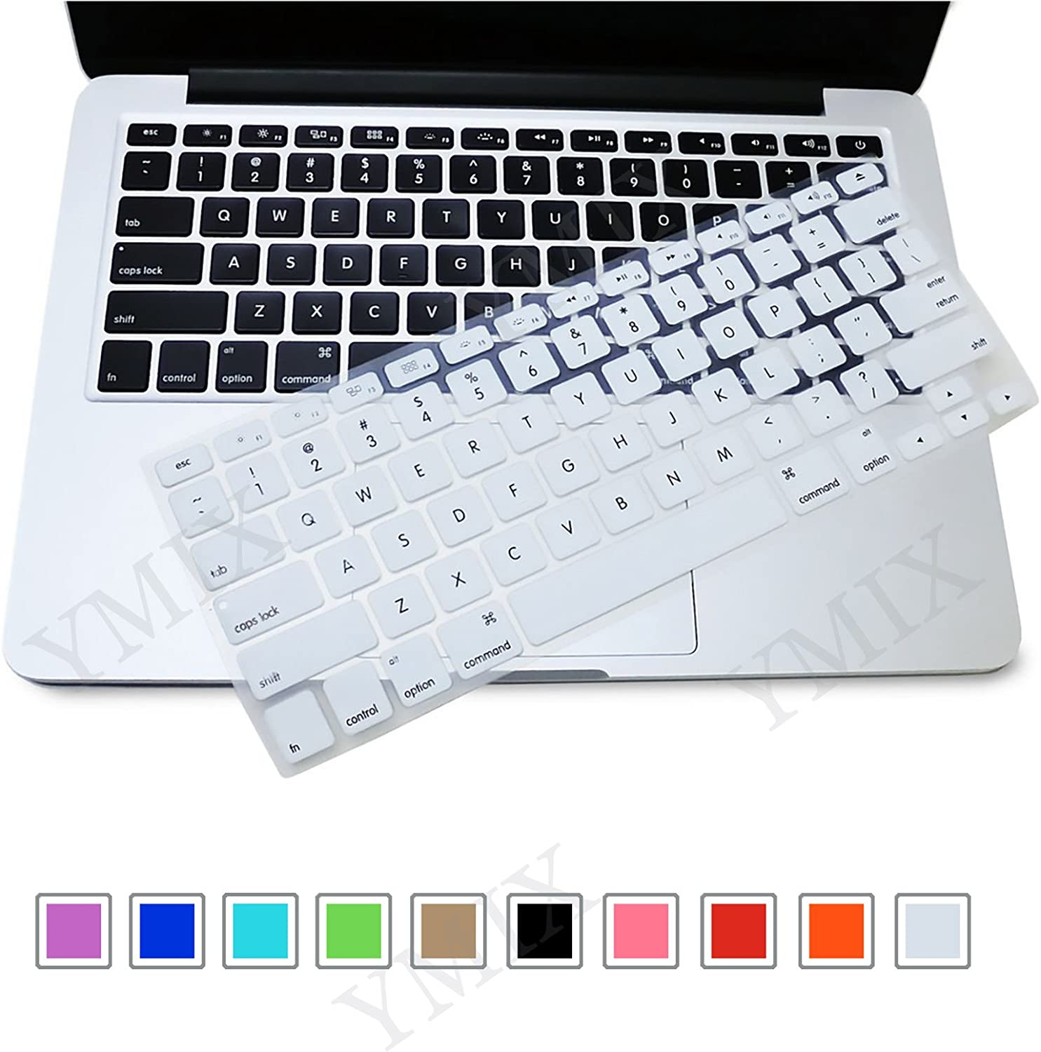Funut Silicone Keyboard Cover Dust-Proof Washable Skin Gel Keyboard Protector for Old MacBook Pro 13 15 17 Air 13 2015 or Older Version iMac and Air 13,iMac Wireless Keyboard, White