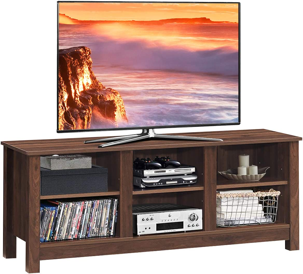Tangkula TV Stand with 2-Shelf Storage, Fit 60 TV Media Center, Open Storage Console with Sturdy Frame, Versatile Entertainment Center Brown