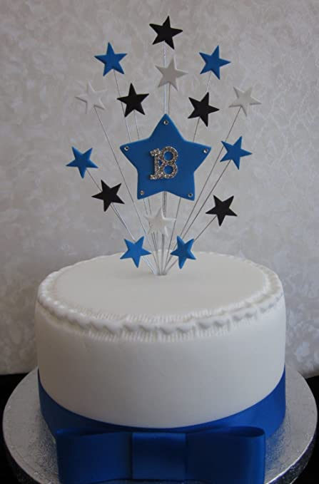 Enjoyable 18Th Birthday Cake Topper Blue Black And White Stars Suitable For Funny Birthday Cards Online Elaedamsfinfo