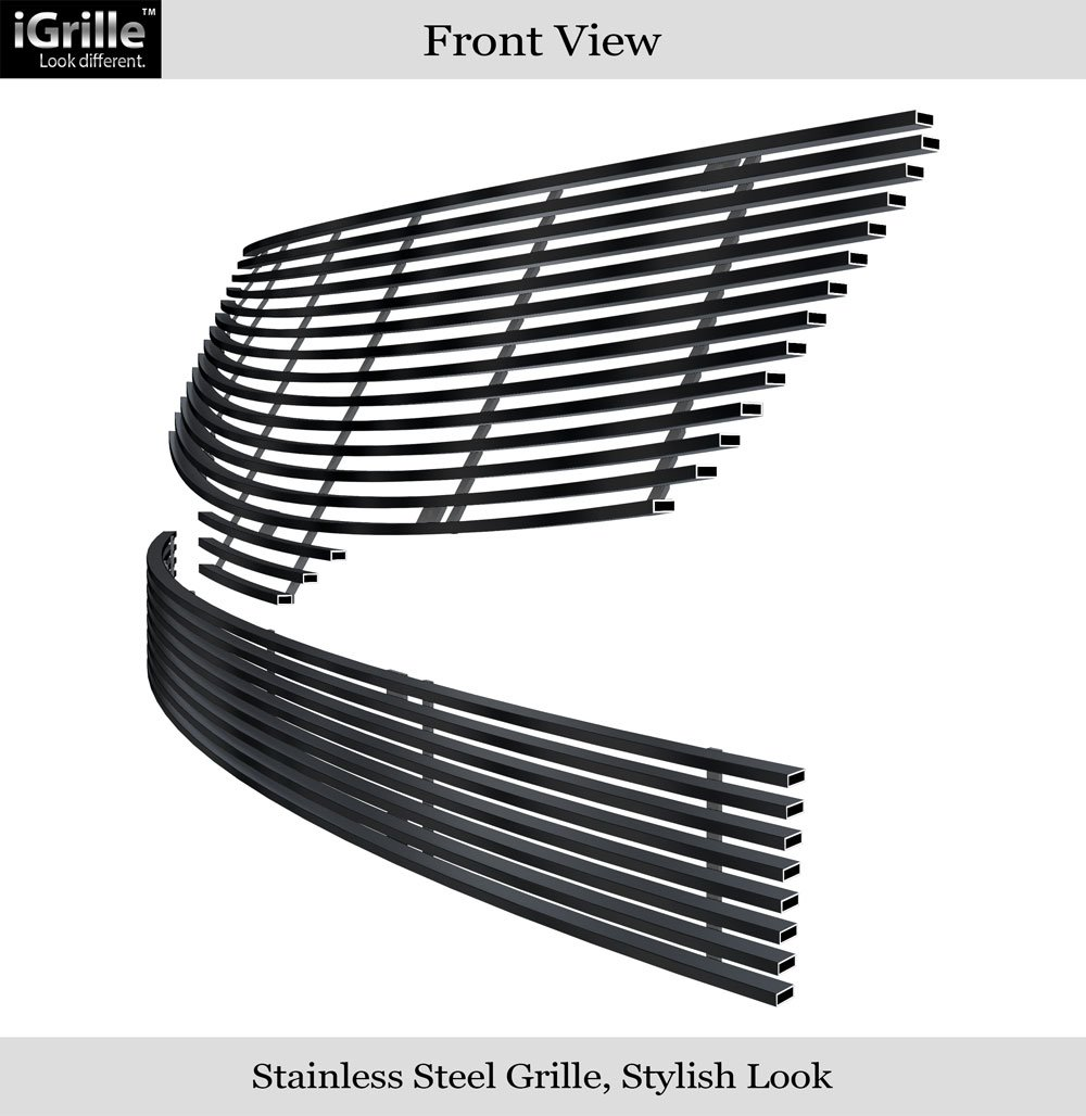 Compatible with 2007-2009 Nissan Altima Sedan Stainless Steel Black Billet Grille Combo N19-J56778N