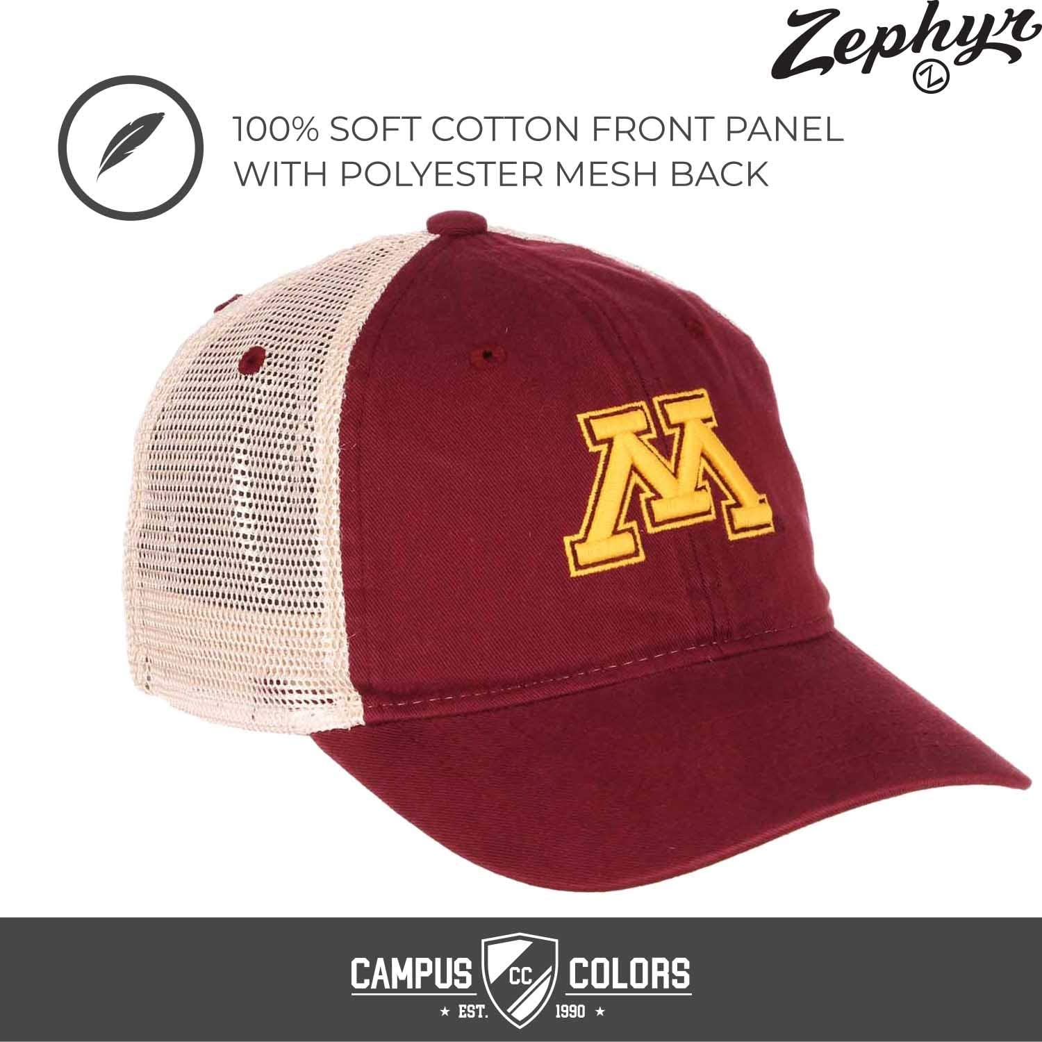 Zephyr NCAA Mississippi State Bulldogs Mens Threepeat Relaxed Cap White//Team Color Adjustable