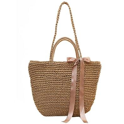 7df4be65cde0 Ribbon Bow Straw Bag Beach Totes Handmade Casual Handbags Female s Woven  Crossbody Bag Travel Shopping Bolsos