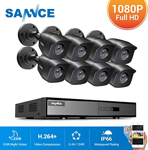 SANNCE 8CH Security Surveillance System H.264 1080N Wired DVR and 8 1080P Weatherproof CCTV Camera System