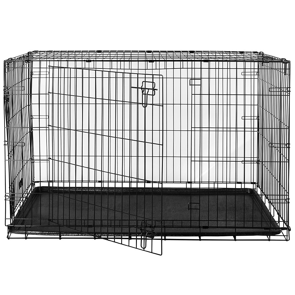 Home Discount Pet Cage With Tray 18 inch Folding Dog Puppy Animal Crate Vet Car Training Carrier Metal