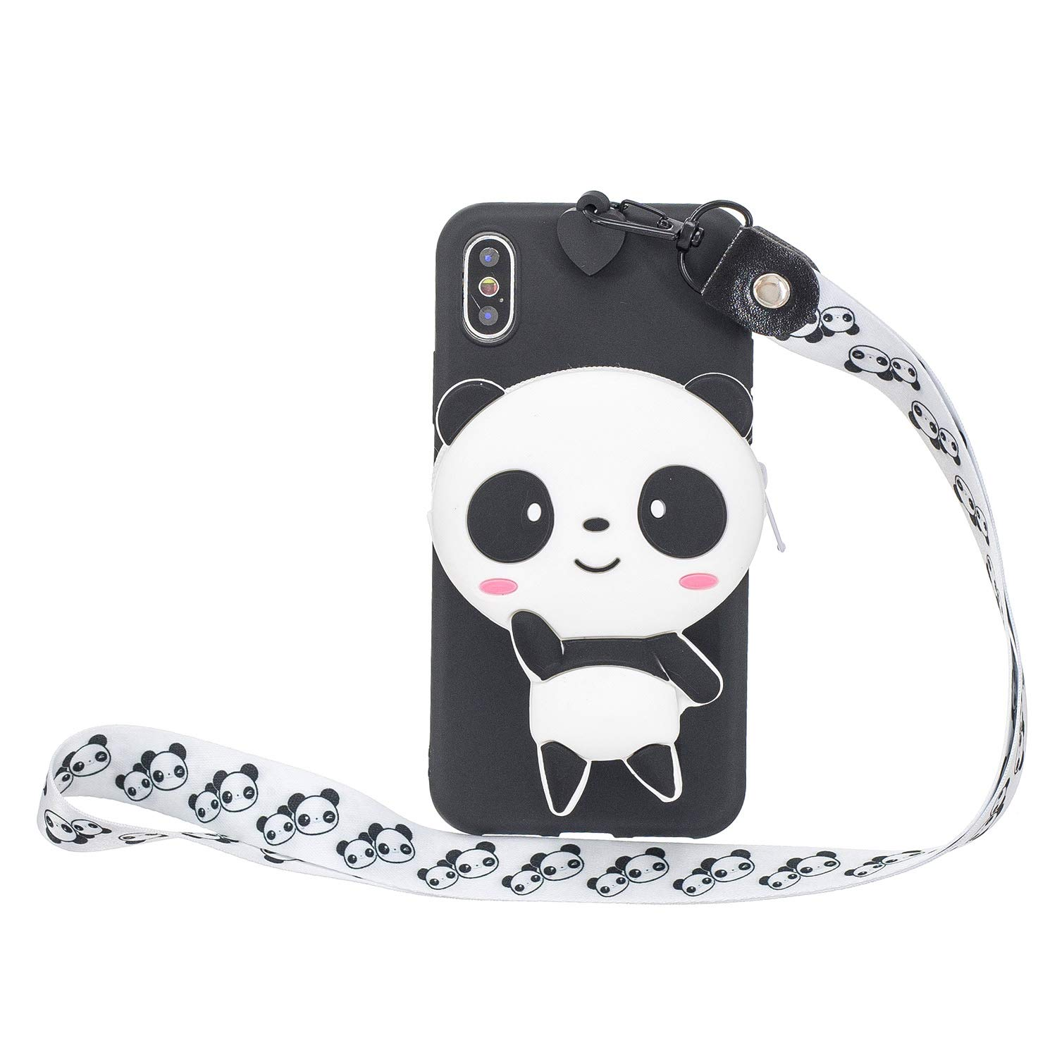 DAMONDY iPhone Xs Cover Case,iPhone X Case,3D Cartoon Cute Pocket Purse Zipper Wallet Stand Holder Cover Soft Silicone Protective Case with Lanyard Strap for iPhone Xs-Black Panda by DAMONDY