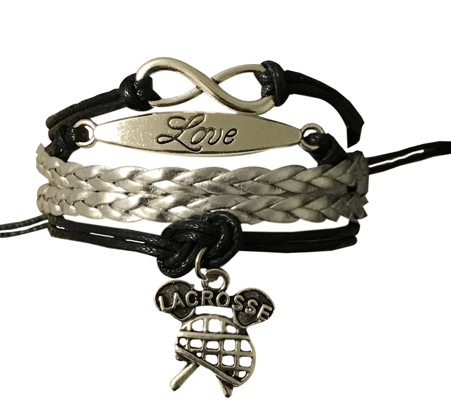 Lacrosse Infinity Charm Bracelet- Lacrosse Jewelry - Perfect Gift For Girl Lacrosse Players