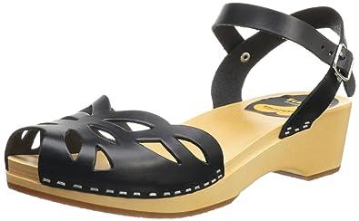 swedish hasbeens Women's Ornament Clog Platform Sandal, Black, ...