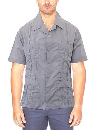 LAD Guayabera Shirts Mens Short Sleeve Cuban Shirt Guayaberas Camisas Para Hombre