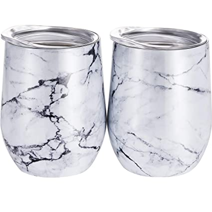 044e9edb407 Skylety 12 oz Double-insulated Stemless Wine Tumbler, Stainless Steel  Tumblers Glass Cup with