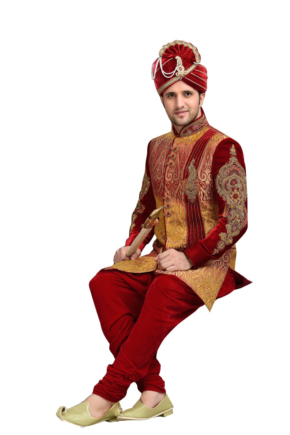 Ethnic Red Velvet Indian Wedding Sherwani For Men