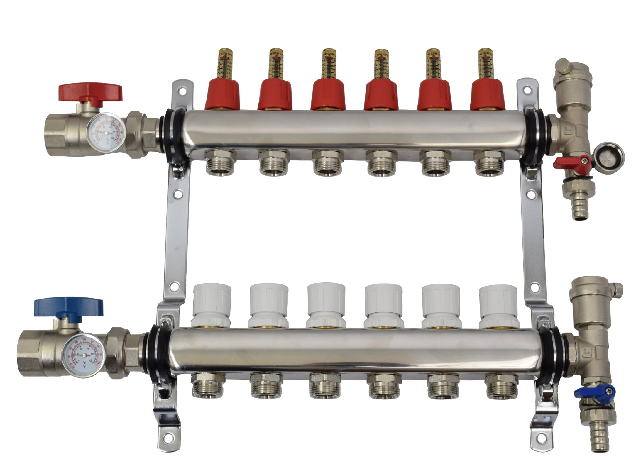New 6 Loop 1/2'' Pex Manifold Stainless Steel Radiant Floor Heating Set / Six Branch Kit (PEX-M12-6)