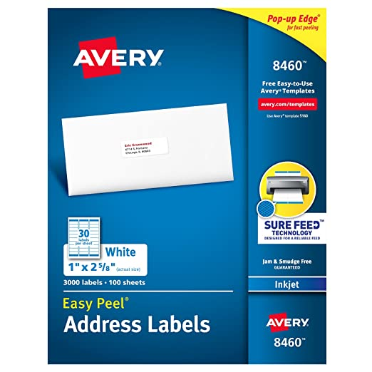 amazoncom avery mailing address labels inkjet printers 3 000 labels 1 x 2 58 permanent adhesive easy peel 8460 address labels office