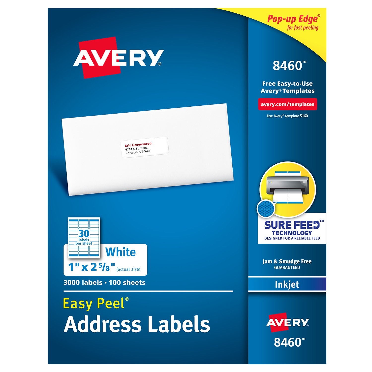 Avery Address Labels with Sure Feed for Inkjet Printers, 1'' x 2-5/8'', 3,000 Labels, Permanent Adhesive (8460), White