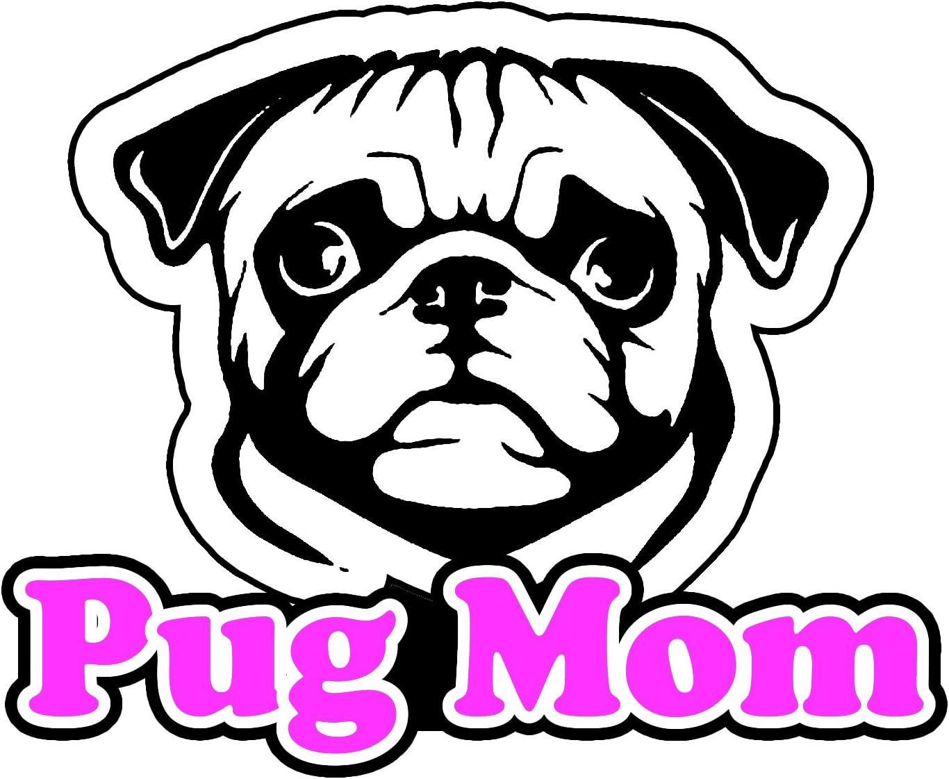 5/'/' or 6/'/' 3/'/' Pug Dog Head Car Bumper Sticker Decal