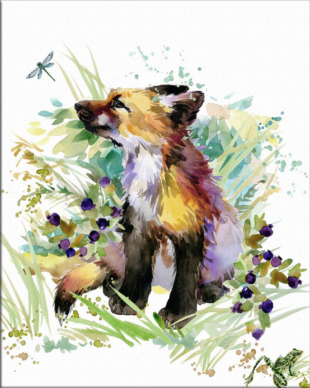 "7Dots Art. Cute Baby Animals. Watercolor Art Print, Poster 8""x10"" on Fine Art Thick Watercolor (Aquarelle) Paper for Children's Room, Bedroom, playroom, Bathroom. (Fox cub)"