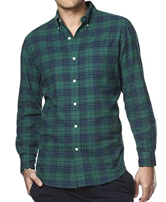 Chaps Mens Classic Fit Flannel Shirt Green Blue Plaid Check At