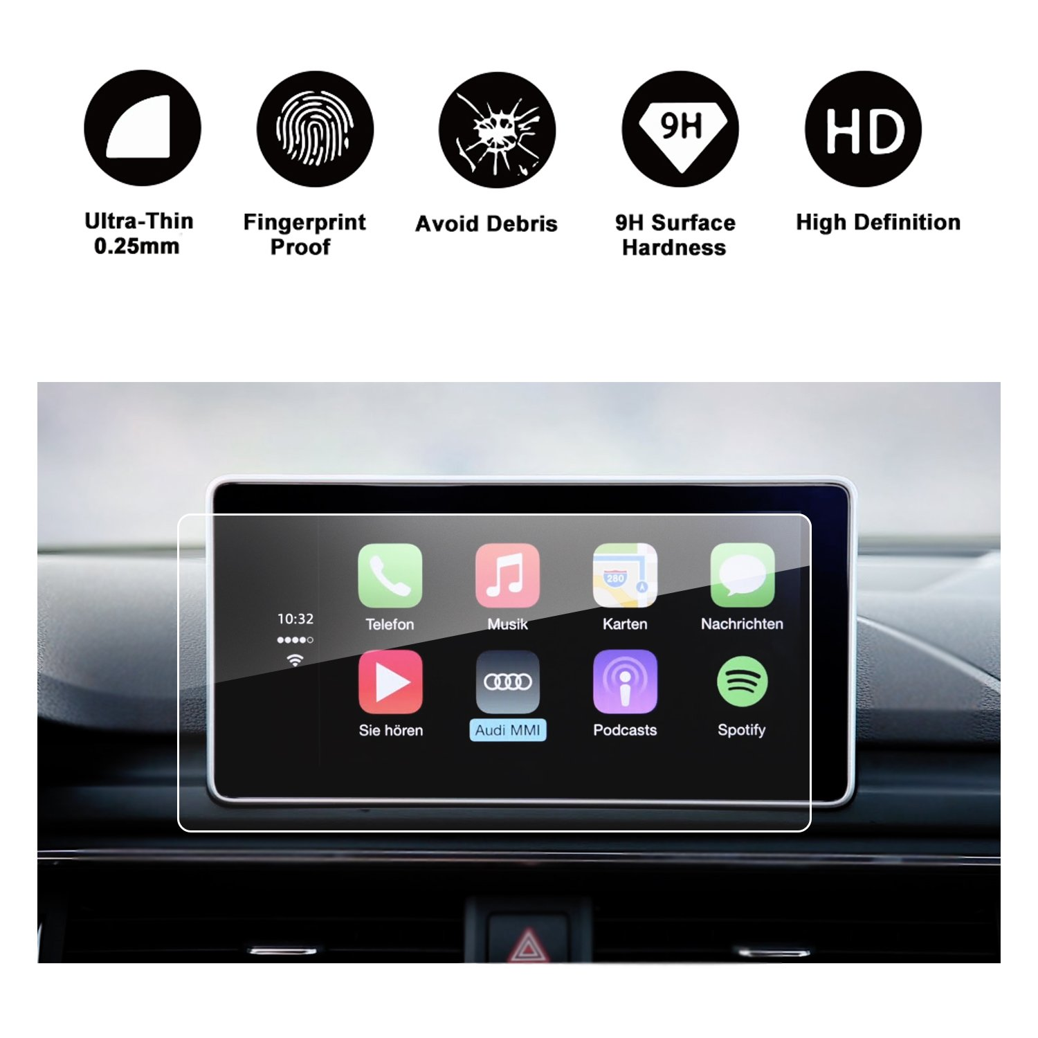 RUIYA Audi 2017 2018 A4 S4 2018 A5 S5 Q5 SQ5 B9 Car Navigation Protective Film, Clear Tempered Glass HD and Protect Your Eyes