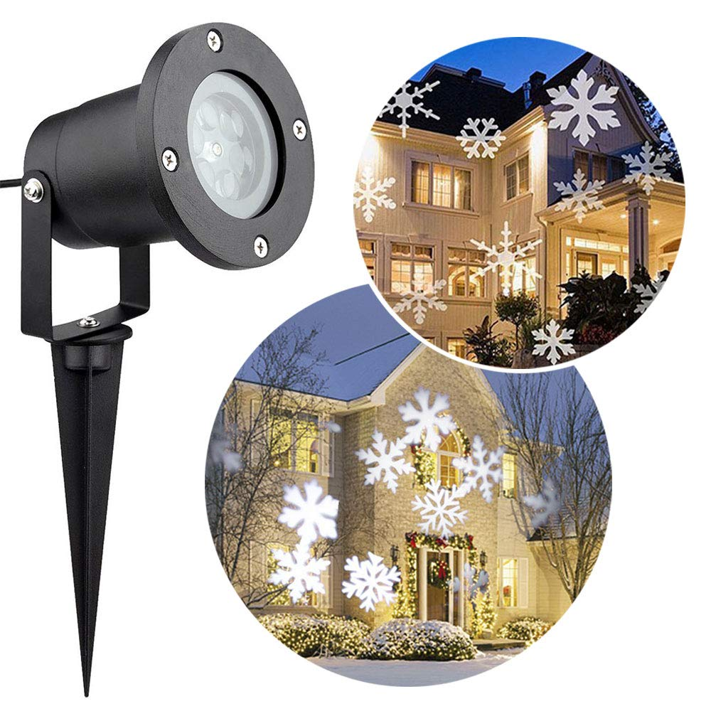 Christmas LED Landscape Projector,Snowflake Lamp Waterproof Xmas Spotlight White Light Moving Lighting Outdoor Indoor for Garden Holiday House Home Wall Party Weddings Decoration Little Hand
