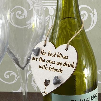 Los mejores vinos son Bebe con amigos de corazones de cerámica hecha a mano botella
