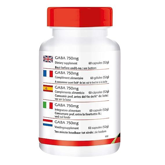 GABA 750mg - VEGANO - Altamente dosificado - 60 cápsulas - ácido gamma-aminobutírico - ¡Calidad Alemana garantizada!: Amazon.es: Salud y cuidado personal