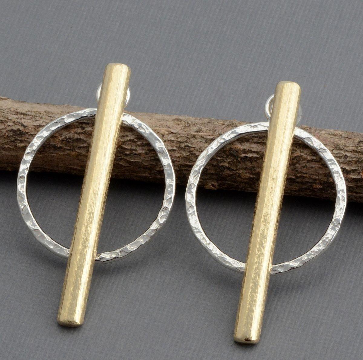Sterling silver font back ear jacket hoop earrings gold brass copper bar post studs