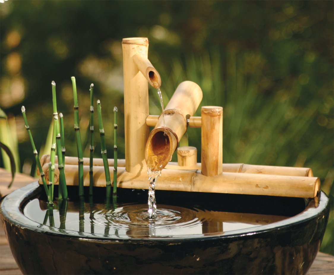 Bamboo accents zen garden water fountain spout 7 5 inch for Japanese garden water features bamboo