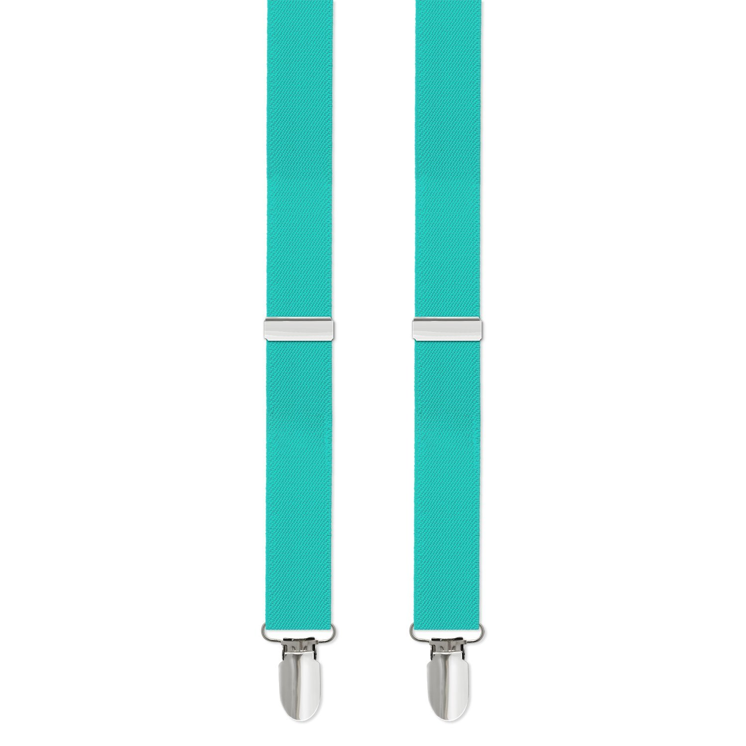 Clip-on Suspenders, 1'' with Silver Clip Mens Tiffany Robin's Egg Blue