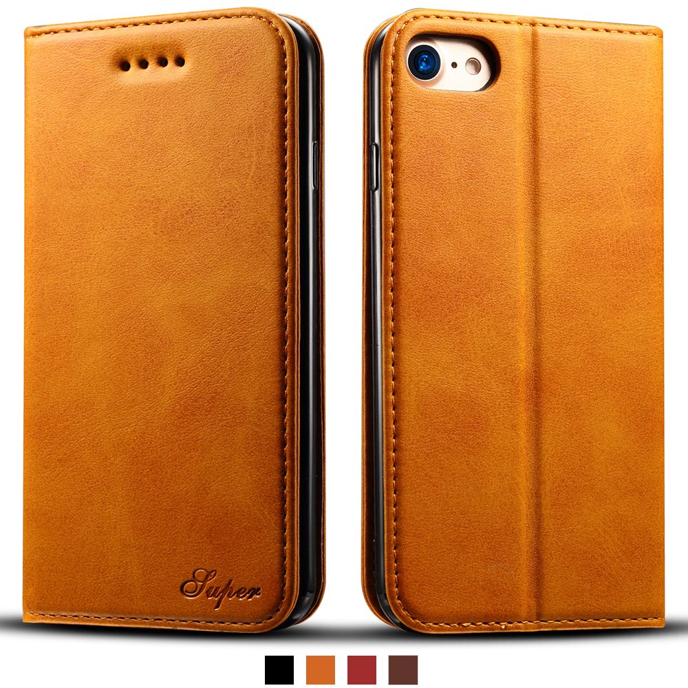 IPhone 8 Leather Wallet Cell Phone Card Holder Case Kickstand Flip Cover, Brown FLY HAWK