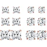 6 Pairs 18K Gold Plated Cubic Zirconia Stud Earrings Set Princess Round Clear Sparkling CZ Hypoallergenic Jwerlry for Women Men