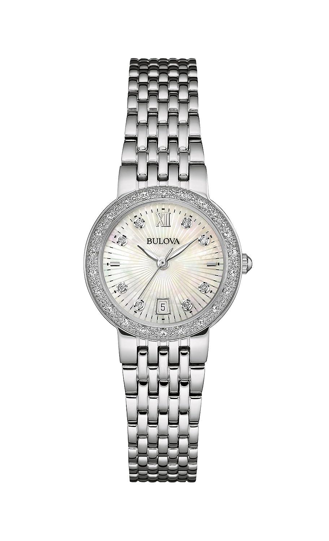 Bulova Damen-Armbanduhr Diamonds Analog Quarz Edelstahl 96W203