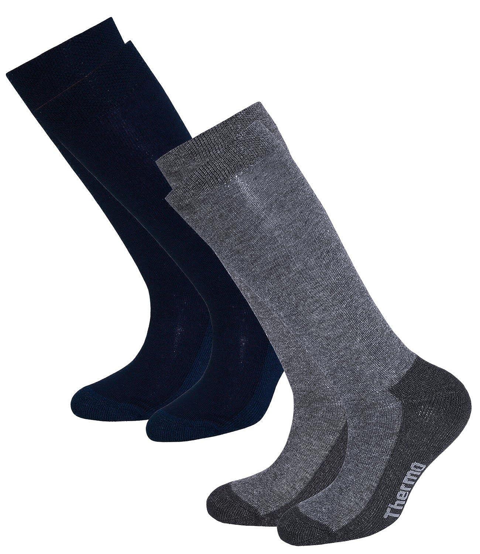EveryKid Ewers 1er, 2er oder 3er Pack Mädchenkniestrümpfe Kniestrümpfe Strümpfe Thermosocken Markensocken Socken einfarbig für Kinder (EW-64033-W17-MA2) inkl Fashionguide