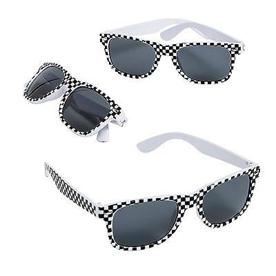 Fun Express Race Car Checkered Flag Print Sunglasses,Black,white - 12 Piece Pack: Toys & Games