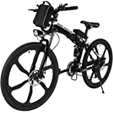 "ANCHEER Folding Electric Mountain Bike with 26"" Super Lightweight Magnesium Alloy 6 Spokes Integrated Wheel, Large Capacity Lithium-Ion Battery (36V 250W), and Shimano Gear"