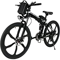 """ANCHEER Folding Electric Mountain Bike with 26"""" Super Lightweight Magnesium Alloy 6 Spokes Integrated Wheel, Lithium-Ion Battery (36V 250W), and Shimano 21 Speed Gear"""
