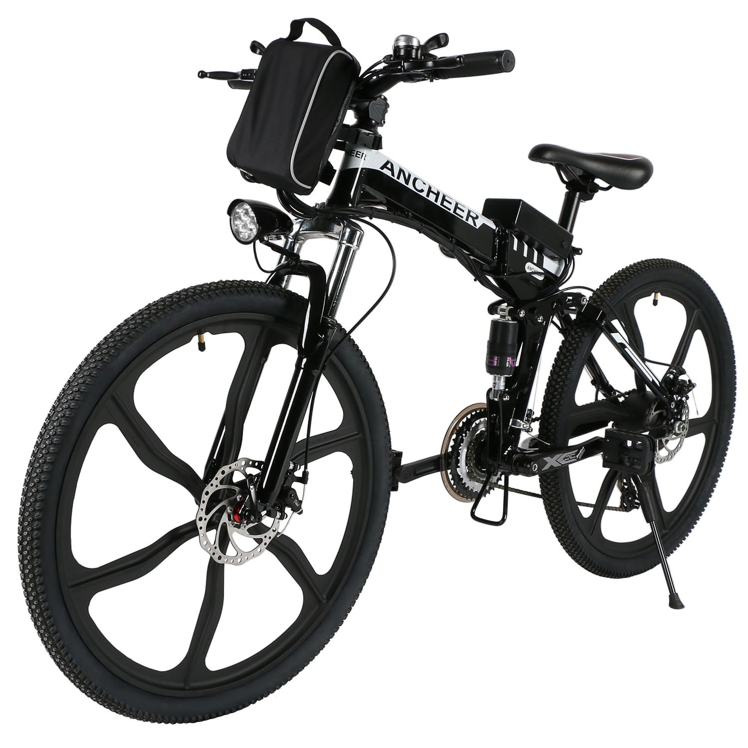 ANCHEER Power Plus Electric Mountain Bike, 26'' Electric Bike with 36V 8Ah Lithium-Ion Battery, Shimano 21 Speed Shifter (Folding Integrated Wheels-Black)