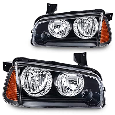AUTOSAVER88 Headlight Assembly Compatible with 2006-2010 Dodge Charger Black Housing Amber Reflector with Corner Signal Lights: Automotive