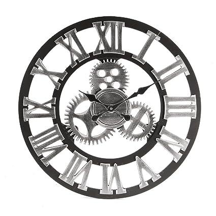 Shhyy Vintage Reloj De Pared Engranaje Hueca Estilo Metálico 60Cm Números Romanos