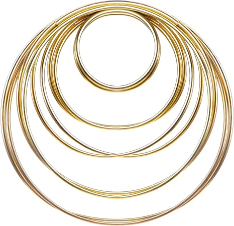 Noblik 10 Pack 3 Inch Gold Dream Catcher Metal Rings Hoops Macrame Ring for Dreamcatchers and Crafts